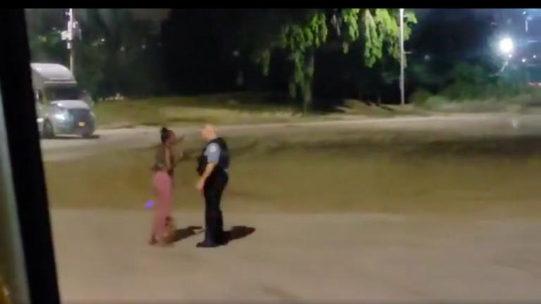 A still image taken from video provided to WTTW News shows Nikkita Brown and a Chicago police officer at North Avenue Beach around 12:12 a.m. Saturday, Aug. 28, 2021. (Courtesy of Saulter Law P.C.)