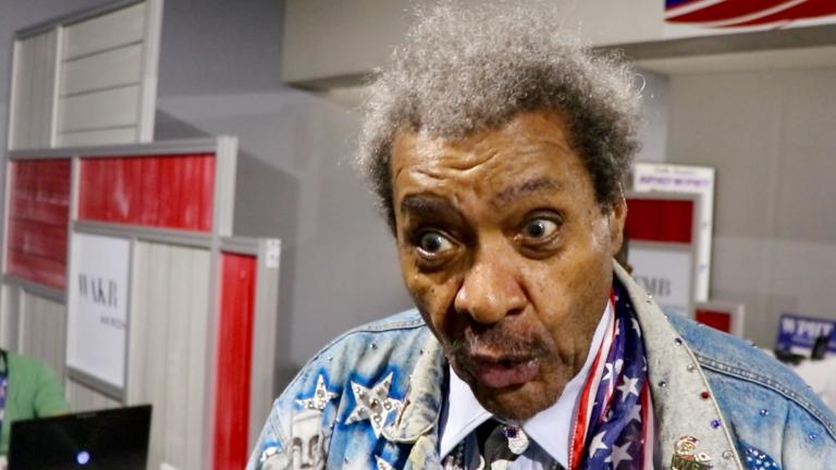 Don King behind the scenes at the RNC. (Evan Garcia / Chicago Tonight)
