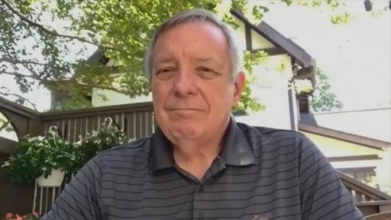 "U.S. Sen. Dick Durbin speaks with ""Chicago Tonight"" via Zoom on Monday, Aug. 17, 2020. (WTTW News)"