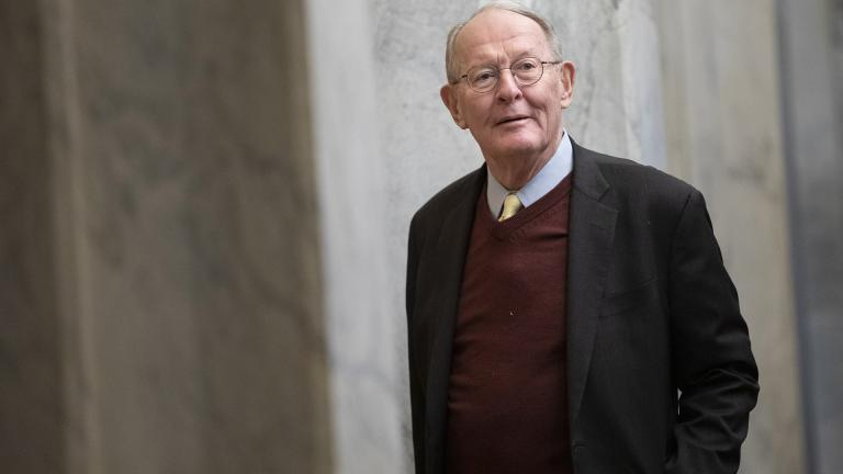Sen. Lamar Alexander, R-Tenn., arrives on Capitol Hill in Washington, Thursday, Jan. 30, 2020, before the impeachment trial of President Donald Trump on charges of abuse of power and obstruction of Congress. (AP Photo/ Jacquelyn Martin)