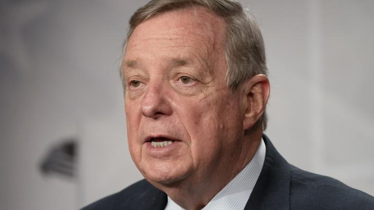 Sen. Dick Durbin, D-Ill., speaks to the media, Tuesday, March 2, 2021, on Capitol Hill in Washington. (AP Photo / Jacquelyn Martin)