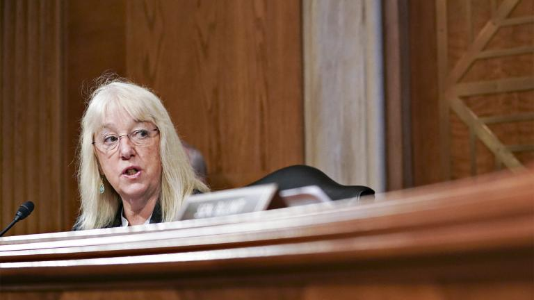 Sen. Patty Murray, D-Wash., speaks during a Senate Appropriations Subcommittee hearing Wednesday, May 26, 2021, on Capitol Hill in Washington. (Stefani Reynolds / Pool via AP)