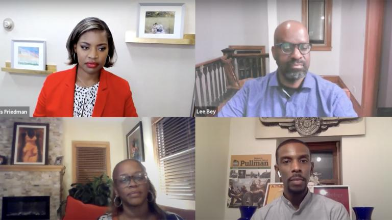 """A screenshot from the """"Black Voices"""" community conversation on Monday, Sept. 27, 2021. (WTTW News)"""