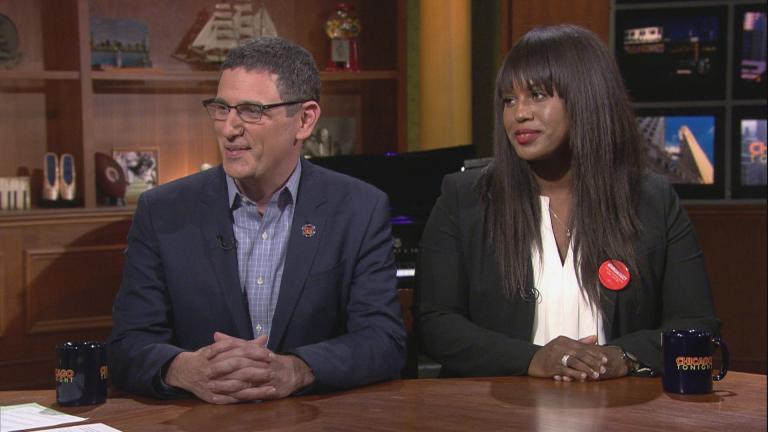 "Chicago Teachers Union President Jesse Sharkey and CTU Vice President Stacy Davis Gates appear on ""Chicago Tonight."" (WTTW News)"
