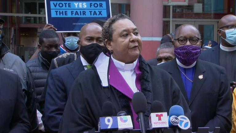 "Bishop Shirley Coleman of the Spiritual Wholistic Ministries of Love & Faith gathers with other religious leaders on Tuesday, Oct. 6, 2020 to promote the ""fair tax"" amendment. (WTTW News)"