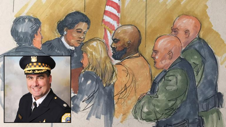 Shomari Legghette, center, appears before Cook County Judge Erica Reddick on Monday, March 12, 2018. (Courtroom sketch by Thomas Gianni). Inset: Chicago Police Cmdr. Paul Bauer.