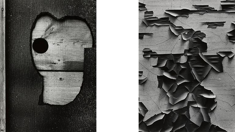 Left: Aaron Siskind. Gloucester 16 1944, 1944. (The Art Institute of Chicago, The Mary and Leigh Block). Right: Aaron Siskind. Jerome 21 1949, 1949. (The Art Institute of Chicago, Gift of Aaron Siskind)