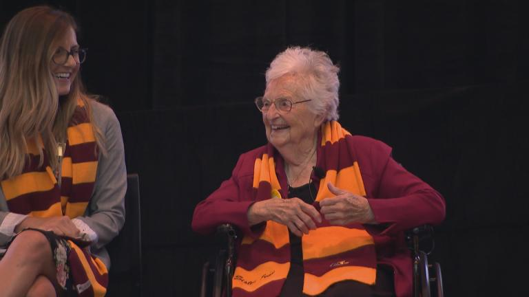 Sister Jean Dolores Schmidt, better known as Sister Jean, celebrates her birthday with fans and special guests at Loyola University on Aug. 21, 2019. (WTTW News)
