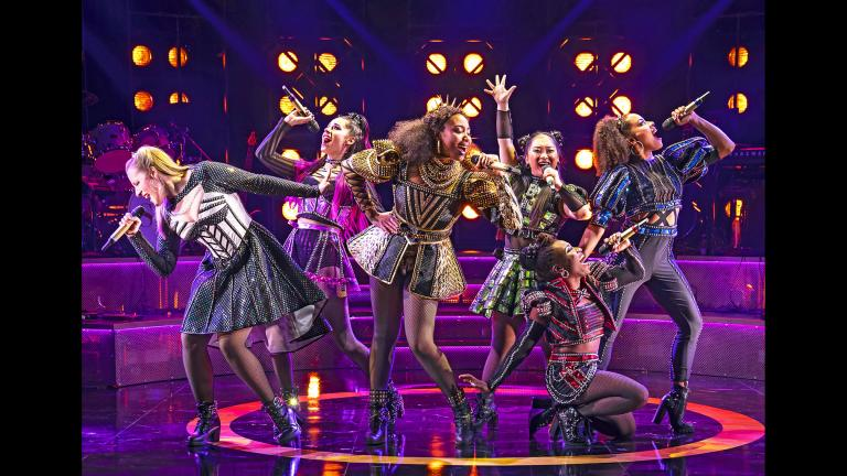 """From left: Abby Mueller, Samantha Pauly, Adrianna Hicks, Andrea Macasaet, Brittney Mack and Anna Uzele in """"Six"""" at Chicago Shakespeare Theatre. (Photo by Liz Lauren)"""