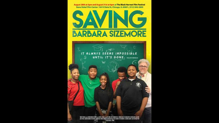 """Movie poster for the documentary """"Saving Barbara Sizemore"""" showcases student filmmakers and the film's director."""
