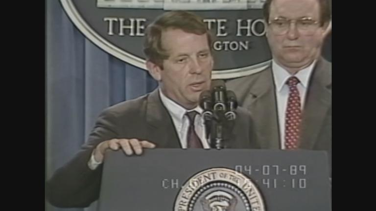 Then-Transportation Secretary Samuel Skinner discusses the Exxon Valdez oil spill. (Courtesy of C-SPAN)
