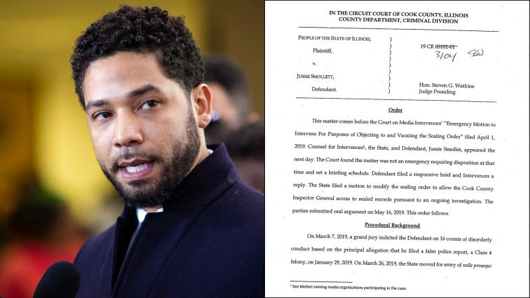 Left: Actor Jussie Smollett leaves the Leighton Criminal Courthouse in Chicago on Tuesday March 26, 2019, after prosecutors dropped all charges against him. (Ashlee Rezin / Chicago Sun-Times via AP)