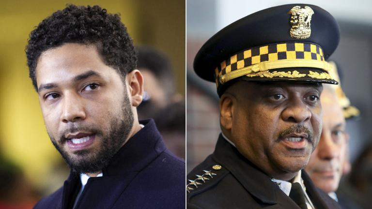 "Jussie Smollett, left, and former Police Superintendent Eddie Johnson speak to the press, separately, on Tuesday, March 26, 2019, the day prosecutors dropped all charges against the ""Empire"" actor. (Credit: Ashlee Rezin / Chicago Sun-Times via AP; and Teresa Crawford / AP Photo)"