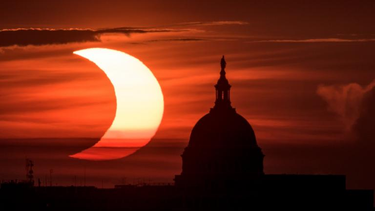 Partial solar eclipse, June 10, 2021. (Bill Ingalls / NASA)