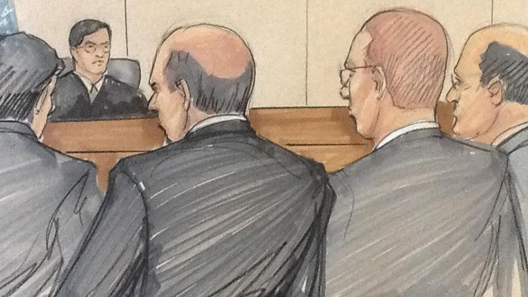 Courtroom sketch from October 2015 depicts Gary Solomon, right, and Thomas Vranas, left, in federal court. (Credit: Thomas Gianni)