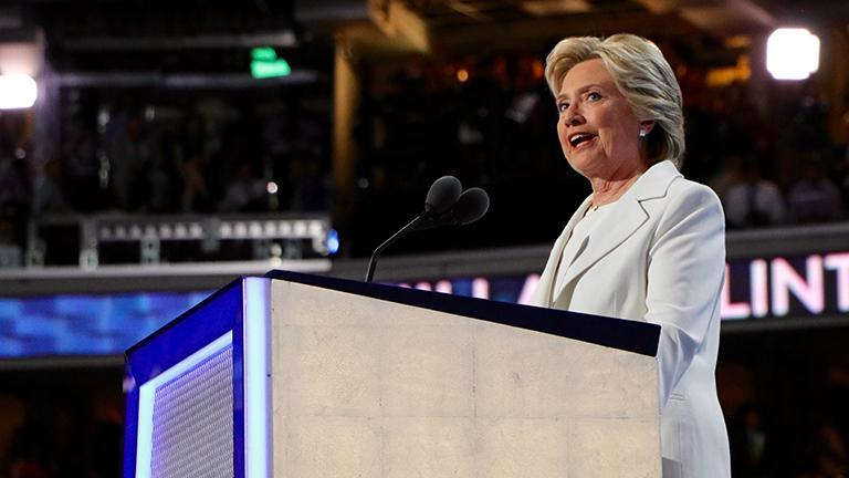 Hillary Clinton addresses the Democratic National Convention. (Evan Garcia / Chicago Tonight)
