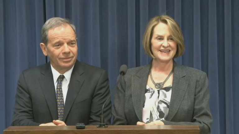 Democratic Senate President John Cullerton and the minority leader, Republican Christine Radogno.