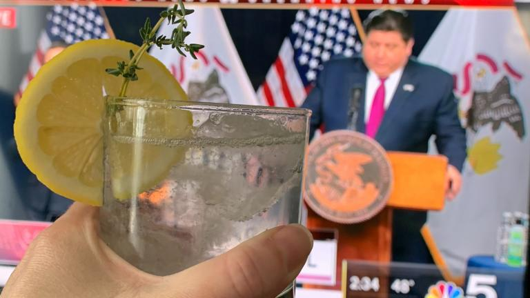 Kimberly Adami-Hasegawa raises a spritzer a day while watching Gov. J.B. Pritzker's press briefings. (Courtesy Kimberly Adami-Hasegawa)