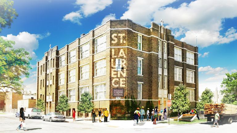 An artist's rendering of plans for St. Laurence school, where children and adults will be able to take free art classes. (Chicago Arts + Industry Commons / Place Lab)