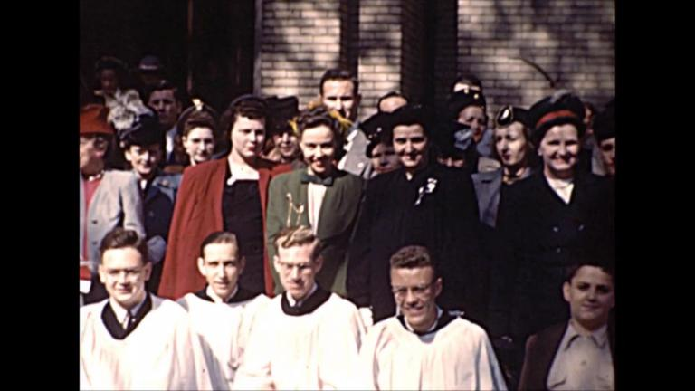 Still image from 1947 film footage of St. Paul's Church by-the-Lake uncovered by Jeff Nichols.