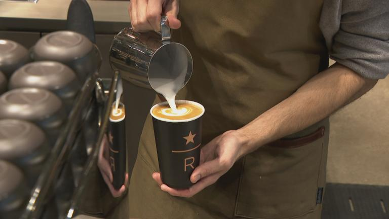 A barista prepares a coffee at a media preview of the new Starbucks Reserve Roastery on Tuesday, Nov. 12, 2019. (WTTW News)