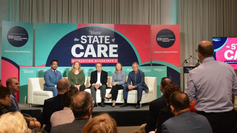 "Speakers at The Atlantic's ""Disrupting Alzheimer's"" event on Wednesday, Sept. 12, 2018. (Kristen Thometz / Chicago Tonight)"