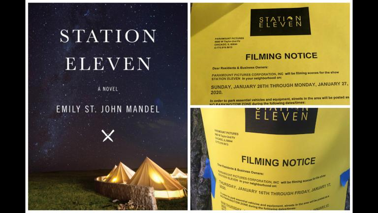 "The cover of Emily St. John Mandel's book ""Station Eleven,"" left, and filming notices shared on Twitter, right, for the TV adaptation in Chicago."