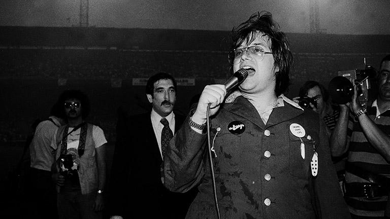 Steve Dahl at Disco Demolition Night, July 12, 1979. (Paul Natkin)