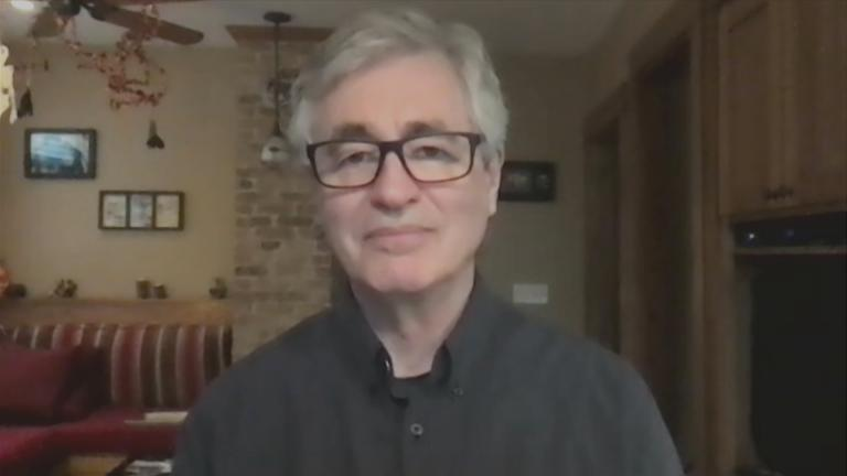 "Filmmaker Steve James appears on ""Chicago Tonight"" on Wednesday, Oct. 28, 2020. (WTTW News)"