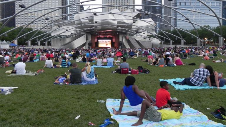 Outdoor movie screenings in Millennium Park, 2021. (Courtesy of the Chicago Department of Cultural Affairs and Special Events)