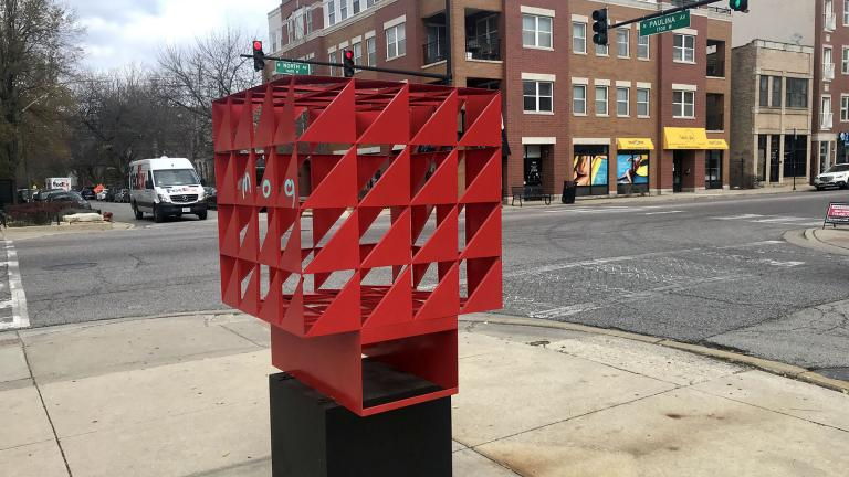 """Cherry"" by artist Sung-Hee Min is on display at 1701 W. North Ave. (Ariel Parrella-Aureli / WTTW News)"