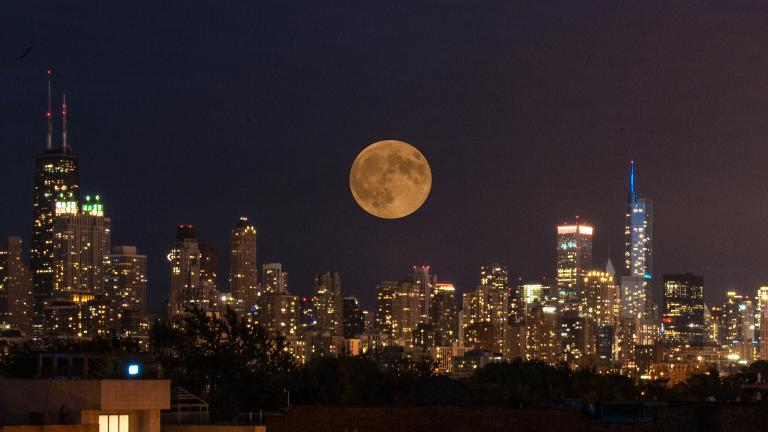 """Chicago Tonight"" viewer J. Scott Sykora shared this photo of a harvest supermoon eclipse on Sept. 27, 2015."