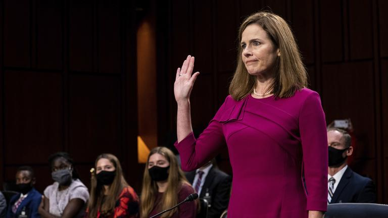 Supreme Court nominee Amy Coney Barrett is sworn in during her Senate Judiciary Committee confirmation hearing on Capitol Hill in Washington, Monday, Oct. 12, 2020. (Erin Schaff / The New York Times via AP, Pool)