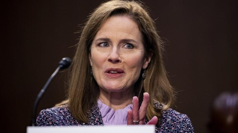 Supreme Court nominee Amy Coney Barrett speaks during a confirmation hearing before the Senate Judiciary Committee, Wednesday, Oct. 14, 2020, on Capitol Hill in Washington. (Michael Reynolds / Pool via AP)