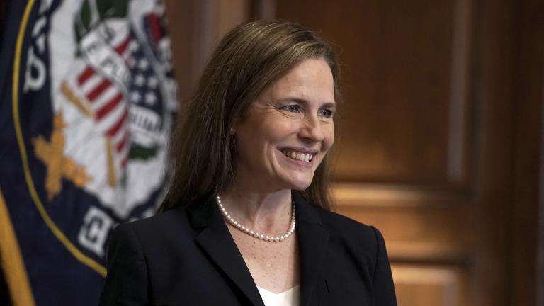 Supreme Court nominee Amy Coney Barrett, meets with Sen. Martha McSally, R-Ariz., Wednesday, Oct. 21, 2020, on Capitol Hill in Washington. (Greg Nash / Pool via AP)