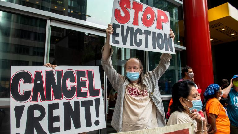 In this Aug. 4, 2021, file photo, housing advocates protest the eviction moratorium in New York. (AP Photo / Brittainy Newman, File)