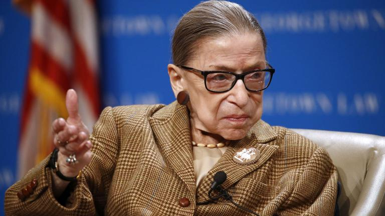 In this Feb. 10, 2020, file photo U.S. Supreme Court Associate Justice Ruth Bader Ginsburg speaks during a discussion on the 100th anniversary of the ratification of the 19th Amendment at Georgetown University Law Center in Washington. (AP Photo / Patrick Semansky, File)
