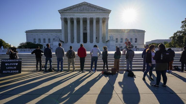 "Anti-abortion activists with ""Bound 4 Life"" demonstrate at the Supreme Court in Washington, Monday, Oct. 5, 2020, as the justices begin a new term without the late Justice Ruth Bader Ginsburg. (AP Photo / J. Scott Applewhite)"