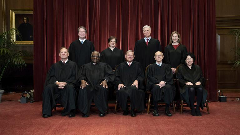 In this April 23, 2021, file photo members of the Supreme Court pose for a group photo at the Supreme Court in Washington. Seated from left are Associate Justice Samuel Alito, Associate Justice Clarence Thomas, Chief Justice John Roberts, Associate Justice Stephen Breyer and Associate Justice Sonia Sotomayor, Standing from left are Associate Justice Brett Kavanaugh, Associate Justice Elena Kagan, Associate Justice Neil Gorsuch and Associate Justice Amy Coney Barrett. (Erin Schaff via AP)