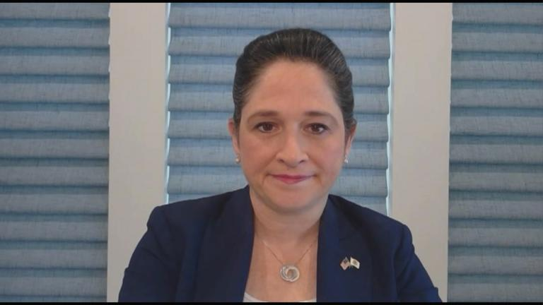 "Illinois Comptroller Susana Mendoza appears on ""Chicago Tonight"" via Zoom on Thursday, May 7, 2020. (WTTW News)"
