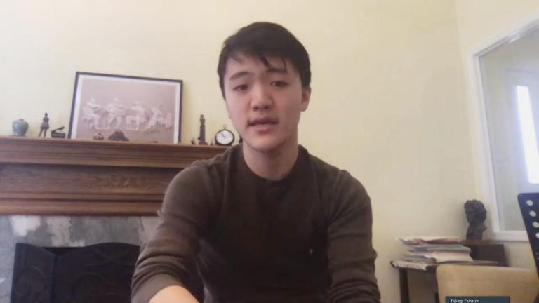 "Musician Cameron Chiu speaks with ""Chicago Tonight"" via video chat. (WTTW News)"