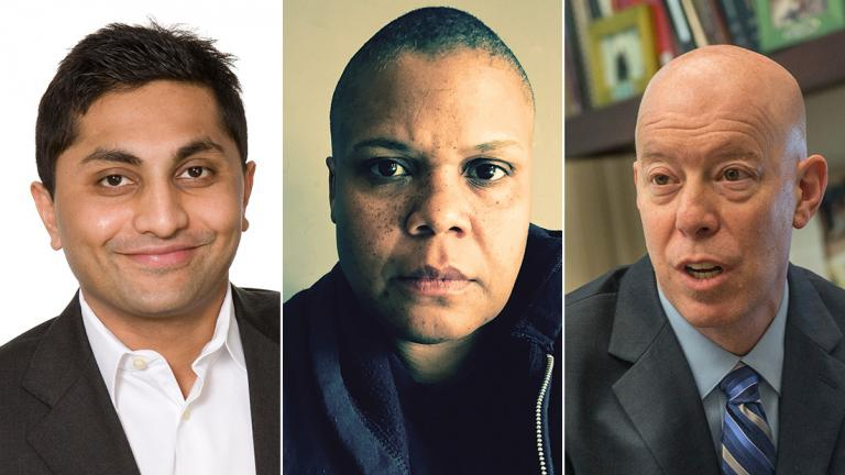From left: Ameya Pawar, Keeanga-Yamahtta Taylor and Craig Futterman participate in this weekend's symposium at the School of the Art Institute of Chicago. (Courtesy of SAIC)