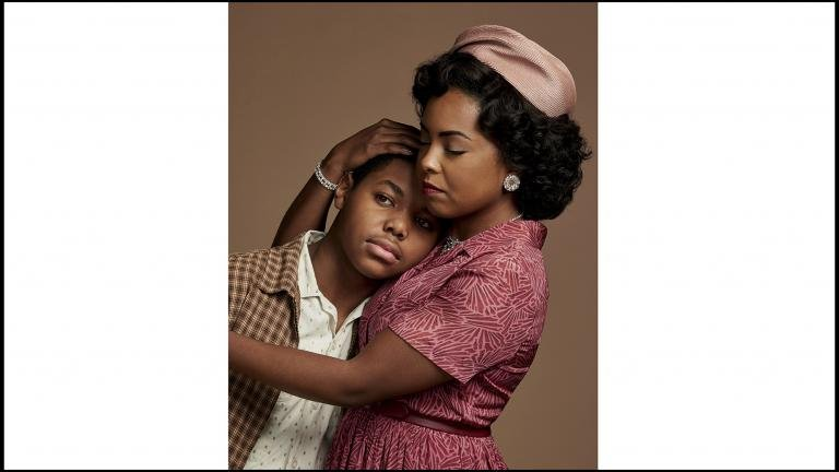 """This image released by ABC shows Cedric Joe as Emmett Till, left, and Adrienne Warren as Mamie Till-Mobley in """"Women of the Movement."""" (Matt Sayles. ABC via AP)"""