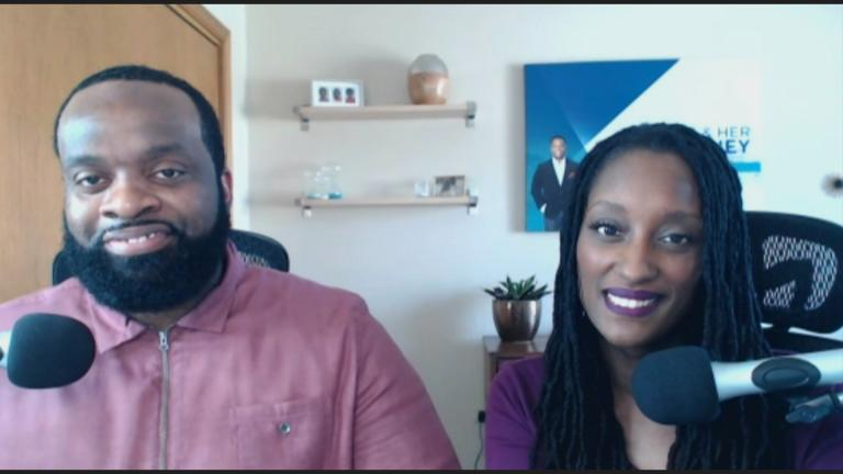 "Talaat and Tai McNeely, hosts of the podcast ""The His and Her Money Show,"" appear via Zoom on ""Chicago Tonight."" (WTTW News)"