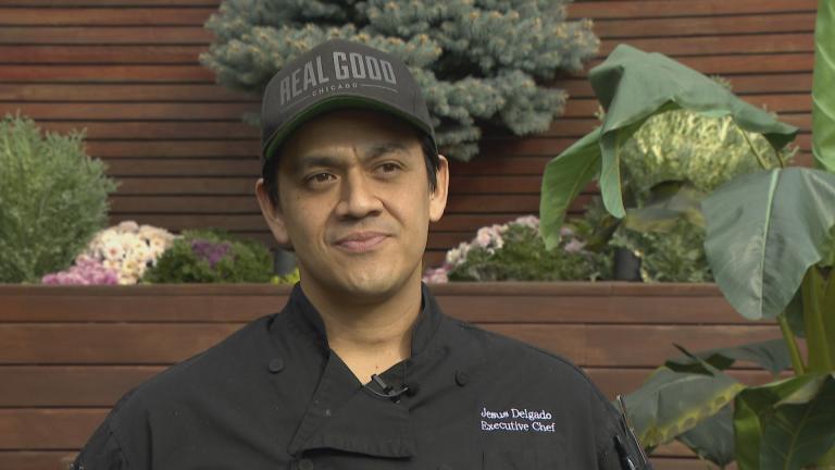 "Chef Jesus Delgado speaks with ""Latino Voices"" host Hugo Balta. (WTTW News)"