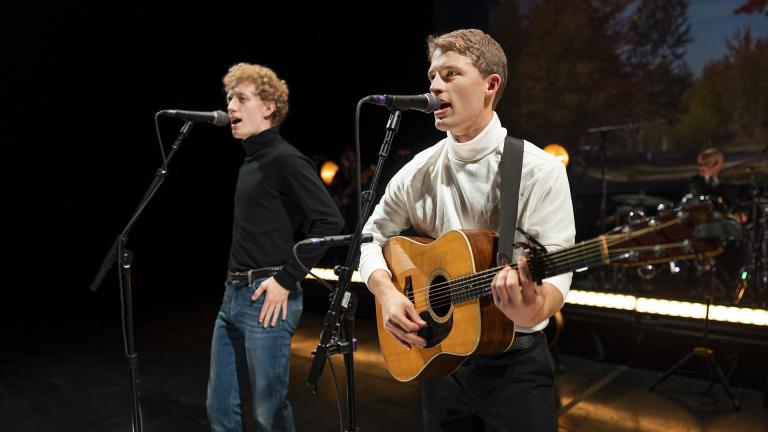 """Ben Cooley (left) and Taylor Bloom perform in """"The Simon & Garfunkel Story."""" (Photo by Lane Peters)"""