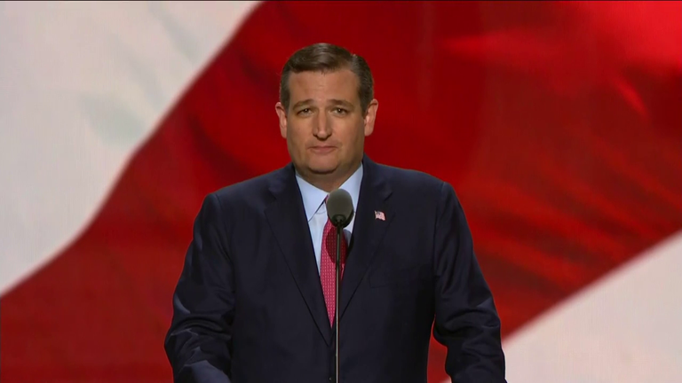 Ted Cruz speaks at the Republican National Convention on Wednesday, July 20.