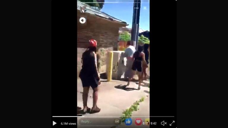 A still image from a video shows multiple girls attacking a 15-year-old girl in a South Side alley. (Twitter)