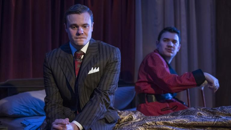 """Curtis Edward Jackson, left, and Rudy Galvan in Raven Theatre's world premiere of """"The Gentleman Caller."""" (Photo by Michael Brosilow)"""