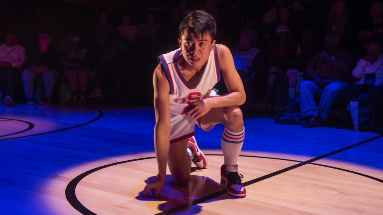 "Glenn Obrero in Steppenwolf's production of ""The Great Leap"" by Lauren Yee. (Photo by Michael Brosilow)"